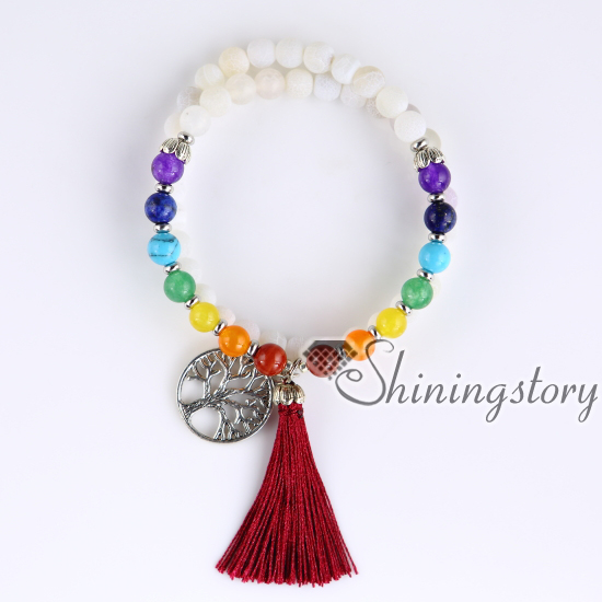 54 Mala Bracelet 7 Chakra Bracelets Meditation Beads Buddhist Prayer Yoga Tibetan