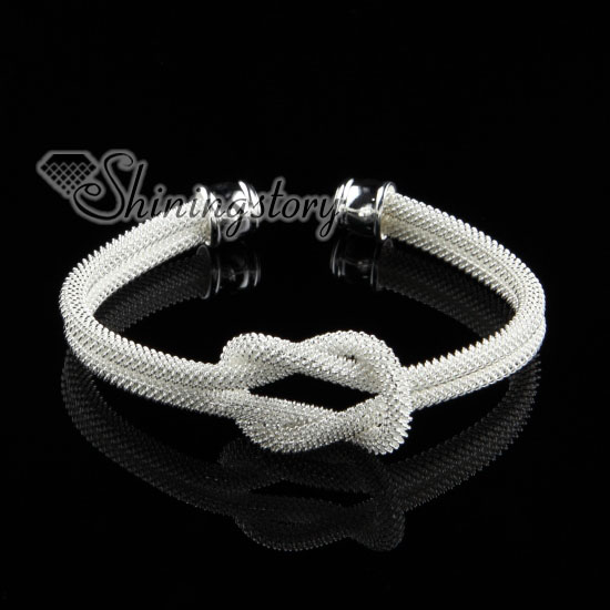925 Sterling Silver Filled Br Mesh Knot Bangles Cuff Bracelets
