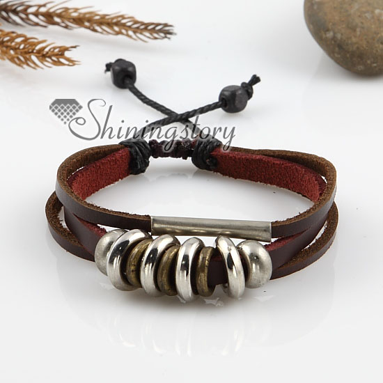 Adjule Alloy Genuine Leather Bracelets For Man And Women