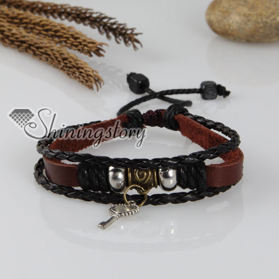 Adjule Key Genuine Leather Charm Bracelets Uni Design A