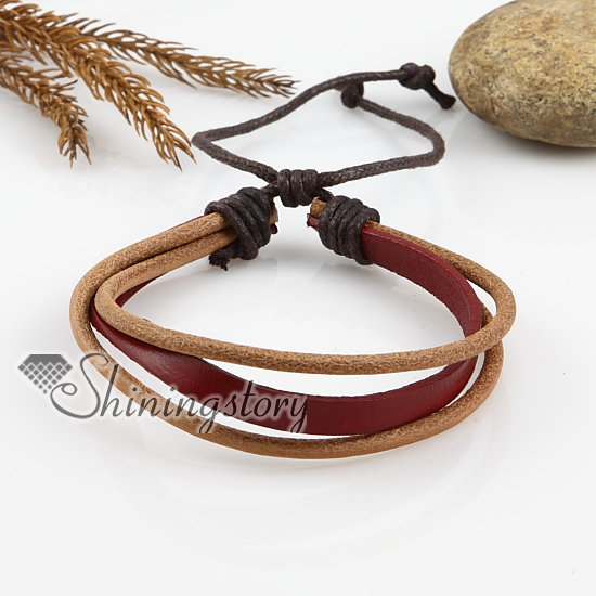 adjustable triple leather bracelets for men and women wholesale