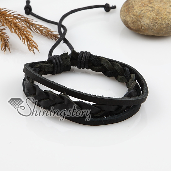 Adjule Woven Leather Bracelets For Men And Women Black