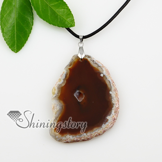 agate semi precious stone necklaces pendants with leather necklaces jewelry