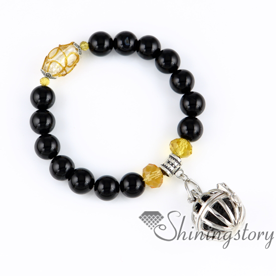 b52bb54538817 ball bird cage openwork beaded bracelets charm bracelets diffuser bracelet  perfume pendant essential oil pendant diffuser semi precious stone