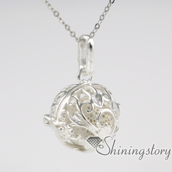 ball metal volcanic stone silver heart locket oil diffuser jewelry