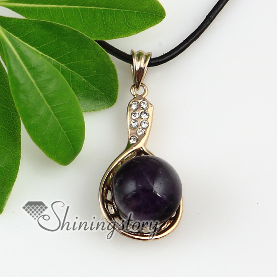 Various semi precious gemstone necklaces with rhinestones.