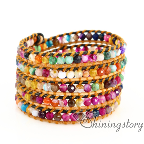 Beaded Wrap Bracelet Handmade Jewelry Five Layer Friendship Bracelets Leather Wrist