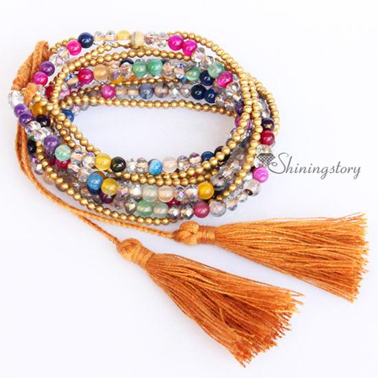 Bracelets With Tels Beaded Wrap Agate Semi Precious Stone Best Friends Tel Multi Layer