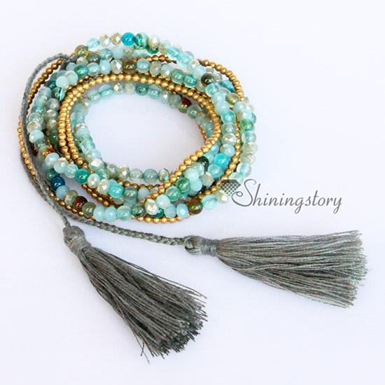 Excellent beaded wrap bracelets agate semi precious stone best friends  OJ41