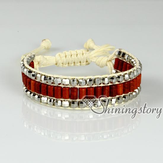 Beaded Wrap Bracelets Semi Precious Stone Bracelets Drawstring