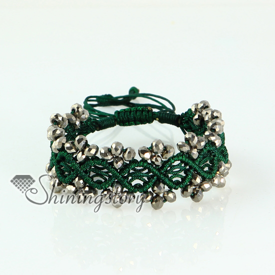 Best Friend Drawstring Wrap Bracelets Crystal Beaded Beads Macrame Bracelet Design A