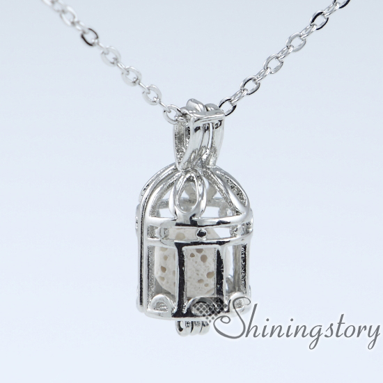 bird cage essential oil locket wholesale pearl cage pendant lava rock essential oil jewelry diffuser charms wholesale diffuser necklace