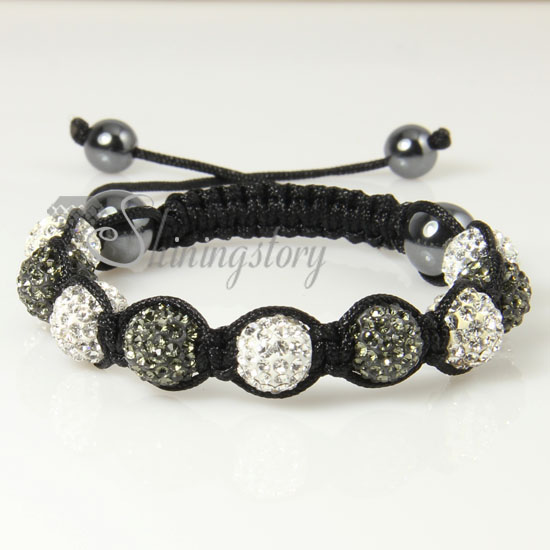 Black Diamond Alternating Macrame Disco Ball Pave Beads Bracelets Design C