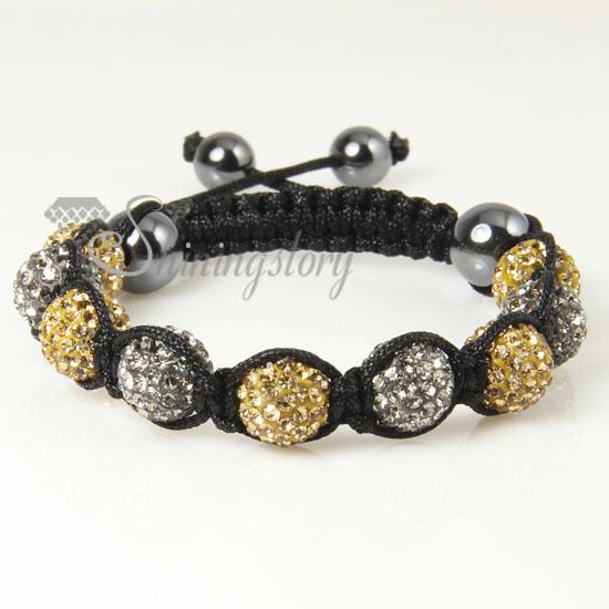 Black Diamond Alternating Macrame Disco Ball Pave Beads Bracelets Design D