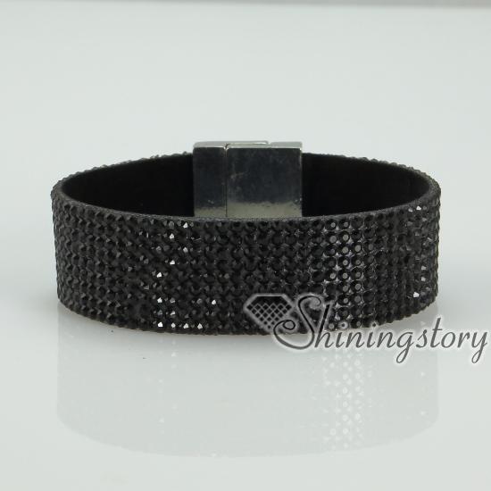 Blingbling Shiny Crystal Rhinestone Magnetic Buckle Wrap Slake Bracelets Muliti Color Leather Bracelet Design F
