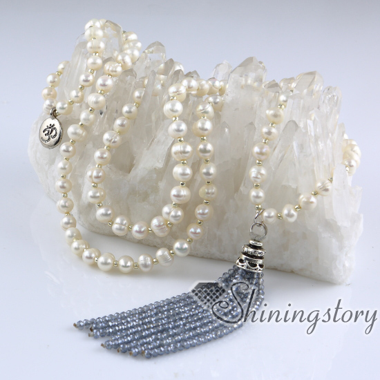 buddhist prayer beads necklace 108 chanting mantra meditation beads  cultured long pearl and crystal necklaces freshwater pearls jewellery
