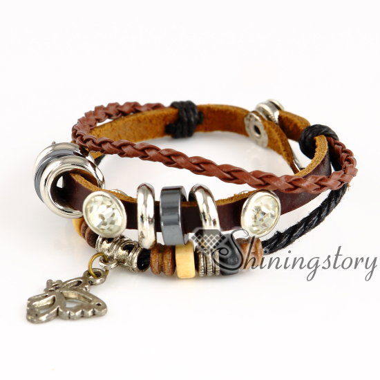 Leather Wrap Bracelet With Charms: Butterfly Leather Bracelets Wholesale Leather Wrap