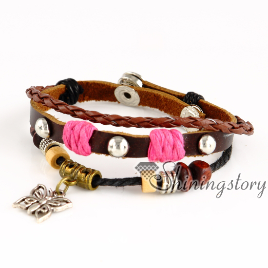 61845069e6a butterfly leather bracelets wholesale leather wrap bracelet charm bracelet  brands leather cord for jewelry genuine leather