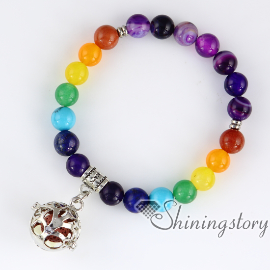 Chakra Bracelet Beaded Locket Charm 7 Balancing Jewelry Tree Of Life Hindu Prayer Beads
