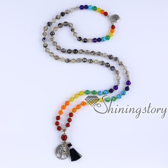 Chakra Necklace 108 Mala Bead 7 Necklaces Meditation Spiritual Yoga Jewelry Whole