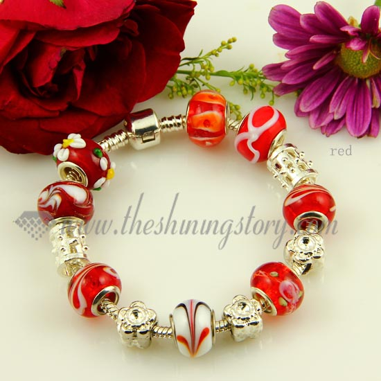 Charms Bracelets With Lampwork Gl Large Hole Beads Red