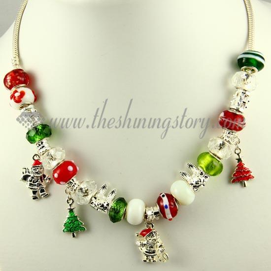 christmas charms necklaces with crystal murano glass beads design c - Christmas Charms