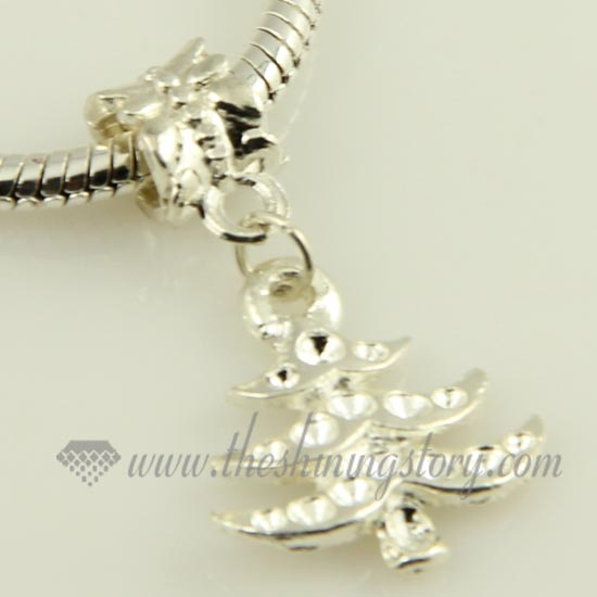 christmas tree silver plated european charms fit for bracelets