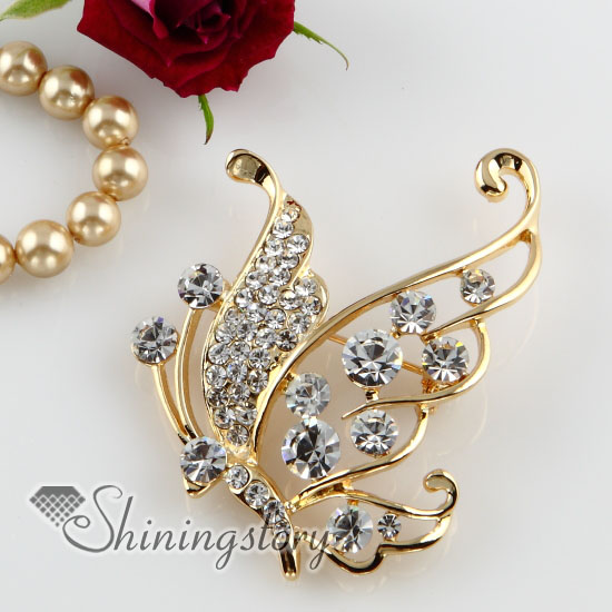 classic butterfly rhinestone scarf brooch pin jewelry wholesale