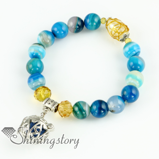 Coconut Tree Openwork Diffuser Bracelet Lava Stone Beads Charm Bracelets