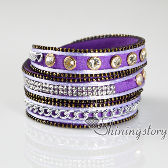 Crystal Bracelets Rhinestone Bling Bracelet Wrist Bands Leather Design A