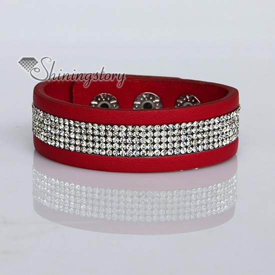 Crystal Rhinestone Slake Bracelets Pu Leather Wristbands Bling Wrap Arm Band Design A