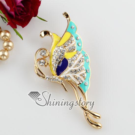 Enameled Butterfly Rhinestone Scarf Brooch Pin Jewelry Design A