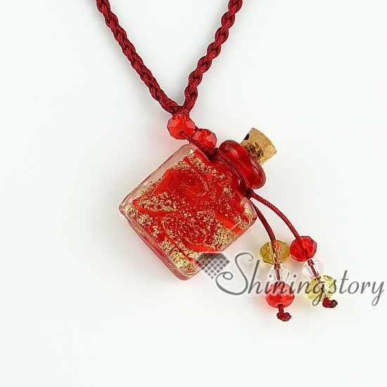 essential oil diffuser necklaces vintage perfume bottle pendant necklace  wholesale glitter murano glass jewelry