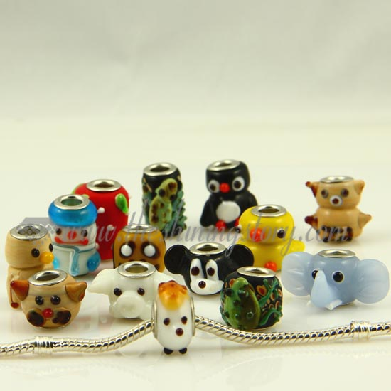 European Animal Murano Gl Beads For Fit Charms Bracelets Orted