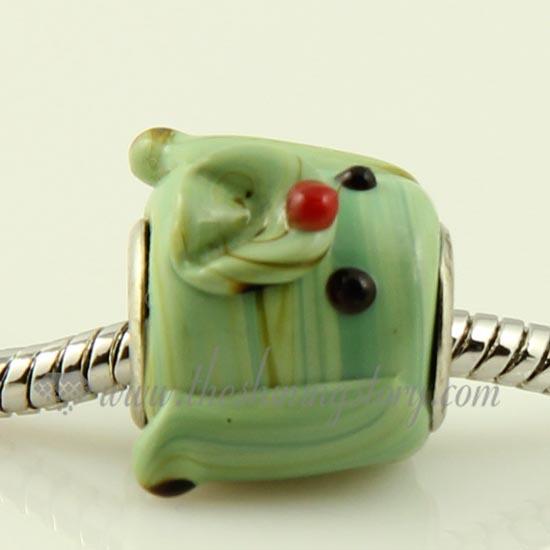 Puppy Dog Lampwork Glass Large Hole Bead Charm fits European Bracelets