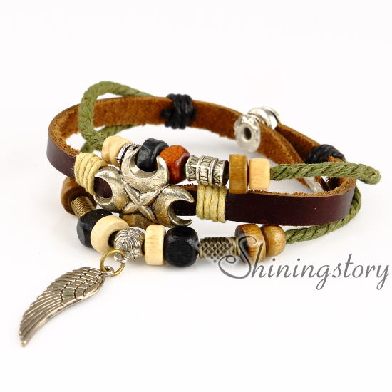 feather leather wrap bracelet wholesale lucky charm bracelet heart charm bracelet leather braided bracelets genuine leather snap bracelets