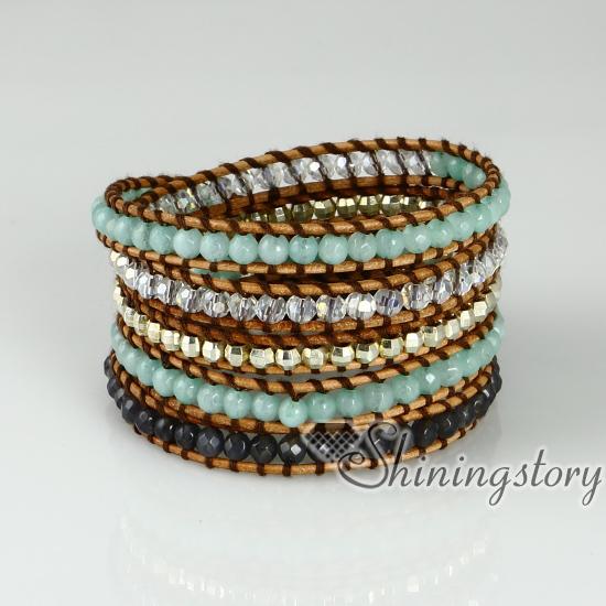 Five Layer Beaded Wrap Bracelets Gold Silver Nugget Semi Precious Stone Jade Agate Turquoise Rose Quartz
