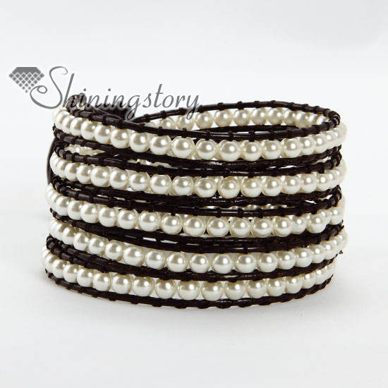 Five Layer Pearl Bead Beaded Leather Wrap Bracelets White