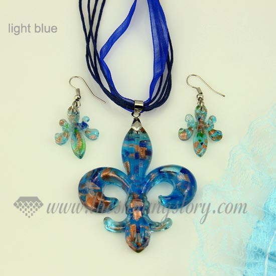 Fleur de lis venetian murano glass pendants and earrings jewelry fleur de lis venetian murano glass pendants and earrings jewelry light blue aloadofball Gallery