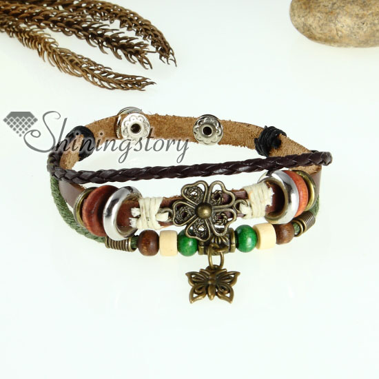 flower leaf charm genuine leather wrap bracelets