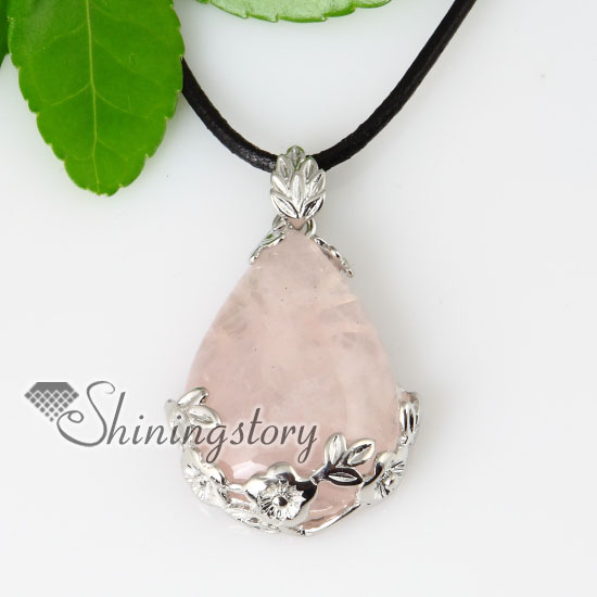 Flower teardrop semi precious stone amethyst tigers eye rose quartz flower teardrop semi precious stone amethyst tigers eye rose quartz necklaces pendants design b mozeypictures