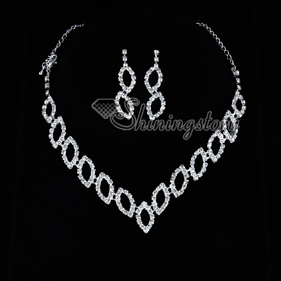 Formal Wedding Bridesmaid Prom Rhinestone Necklaces And Earrings Silver