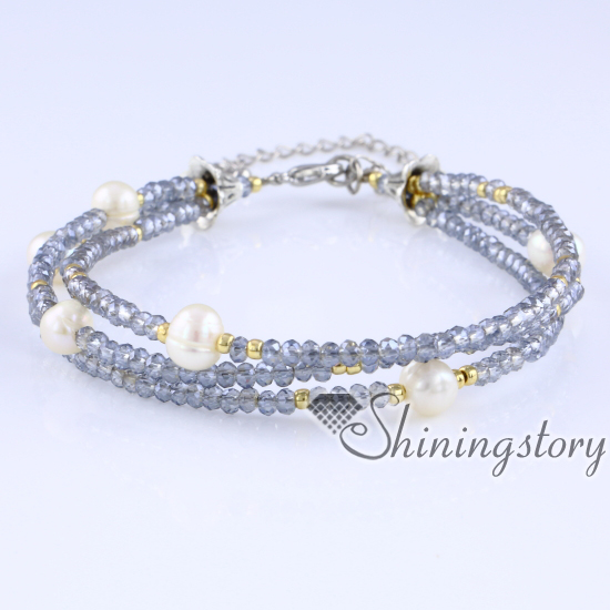 Freshwater Pearl Bracelet 3 Strand With Crystal And Seed Beads Pearls Jewellery Online Simple Wedding Jewelry