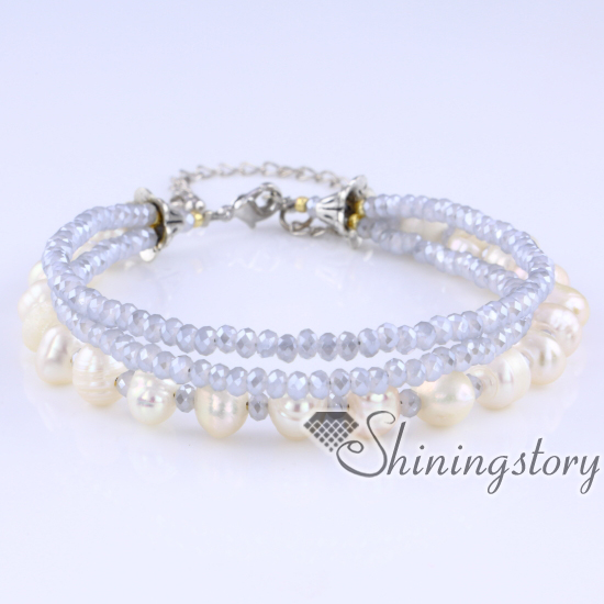 Freshwater Pearl Bracelet Multi Strand Pearl Bracelet With Crystal