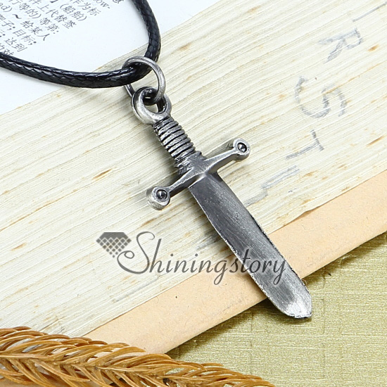 Captivating Genuine Leather Antiquity Silver Knife Pendant Adjustable Long Necklaces  Design A