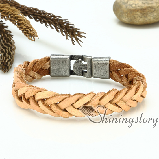 genuine leather bracelet mesh woven bracelet handcraft macrame bracelet with buckle for men and women unisex handmade jewelry