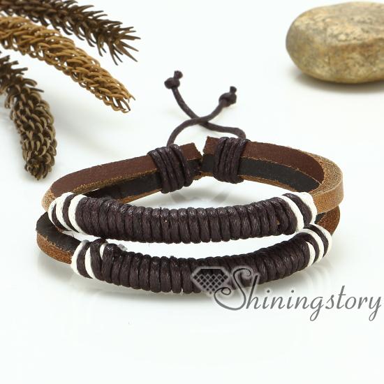 Genuine Leather Drawstring Bracelets Wristbands Charm Adjule Woven Bracelet