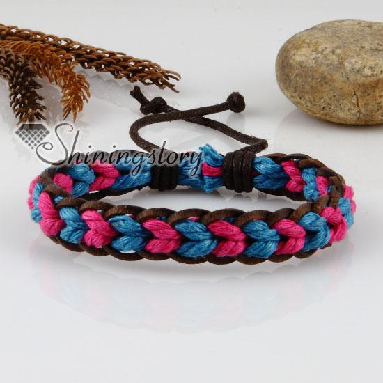 Genuine Leather Waxed Cotton Cord Woven Wristbands Adjule Drawstring Rainbow Bracelets Uni Design A