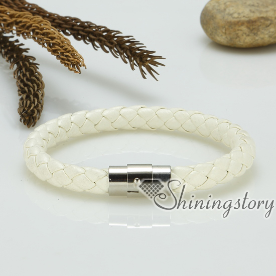 Genuine Leather Woven Bracelet Wristbands Bracelets Magnetic Buckle Snap For Men And Women Design A