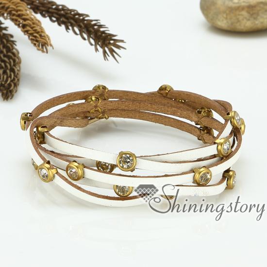 Genuine Leather Wrap Bracelets Crystal Rhinestone Bracelet Blingbling Wristbands Handmade Handcrafted Fashion Jewelry Jewellery Design A